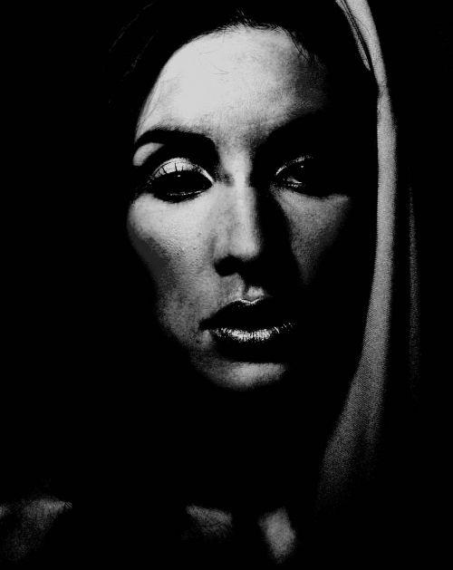 woman face monochrome