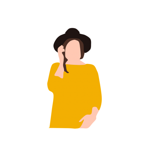 woman hat phone