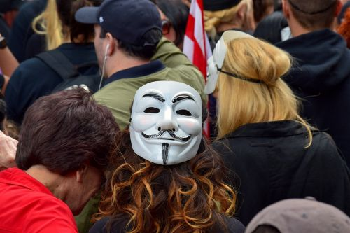 woman protester mask