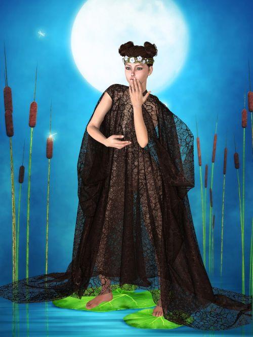 woman art nouveau cape