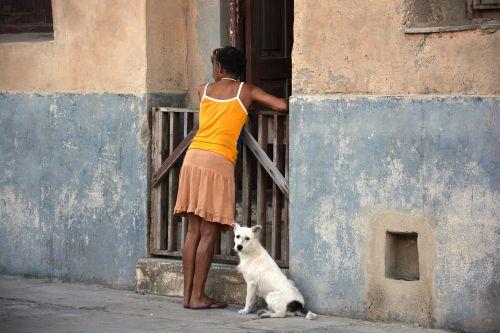 woman dog cuba