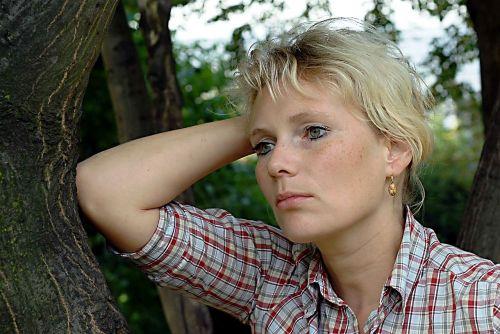 woman blonde emotion