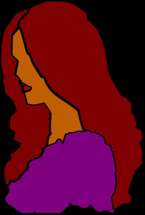 woman profile long maroon hair