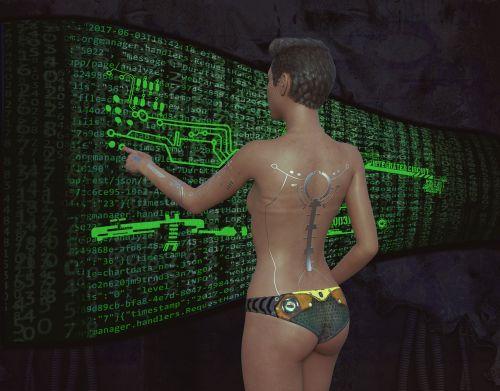 woman cyberpunk monitor