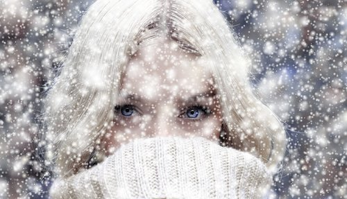 woman  face  snow