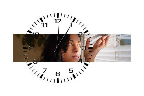 woman  wait  clock