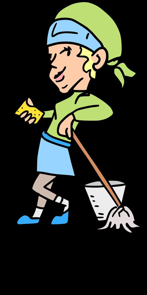 woman  bucket  clean