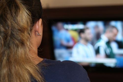 woman watching tv tv