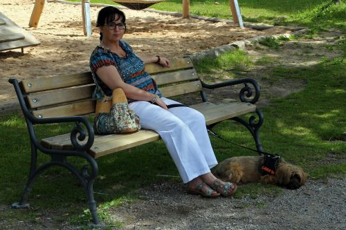 woman person dog