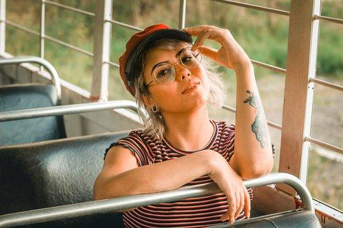 woman  beret  girl
