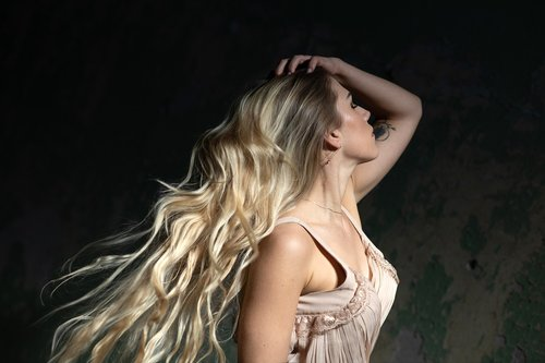 woman  long hair  blond