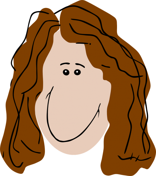 woman curly hair brown hair