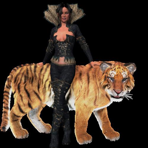 woman amazone tiger