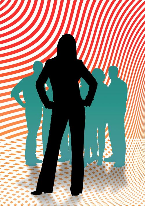 woman group silhouette