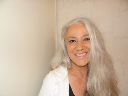 woman gray hair portrait