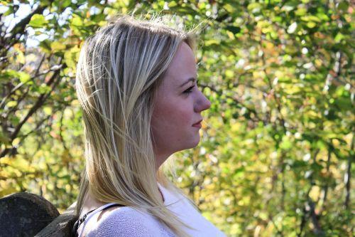woman thinking profile