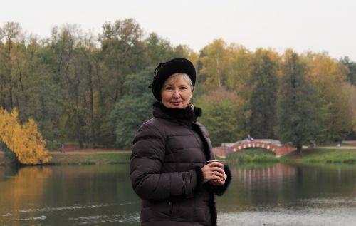woman beret bridge