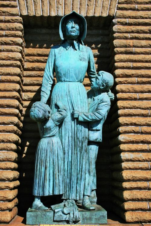 Woman And Children Bronze Statue