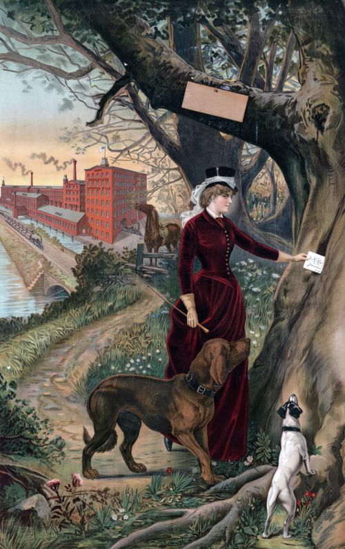 Woman & Dogs Painting