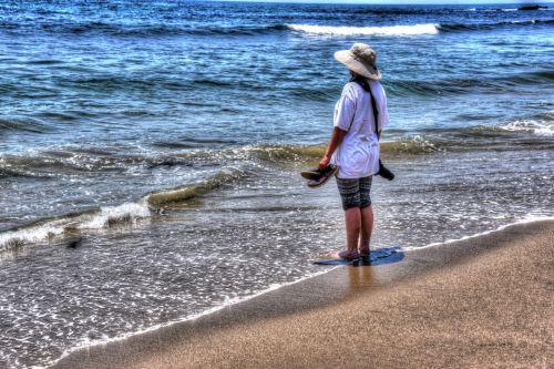 Woman At Sea Shore