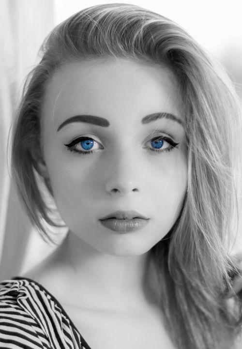 Woman Blue Eyes Portrait