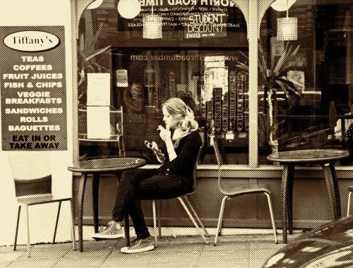 Woman Cafe Smoking Vintage