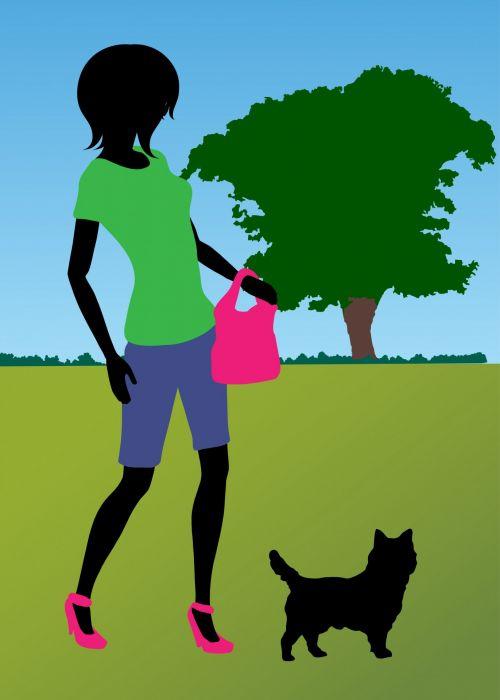 Woman Dog Walking In Park