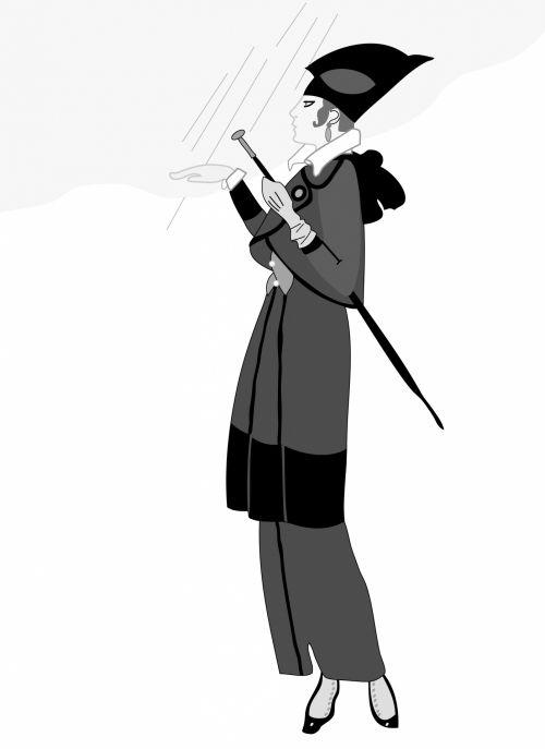 Woman In Rain Vintage