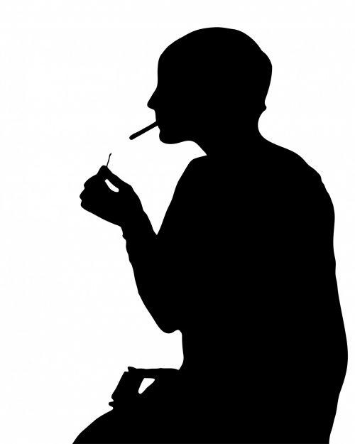 Woman Smoking Silhouette Clipart