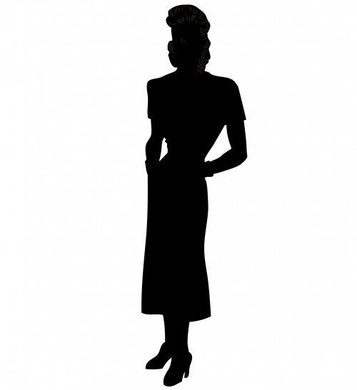 Woman Vintage 1940s Silhouette