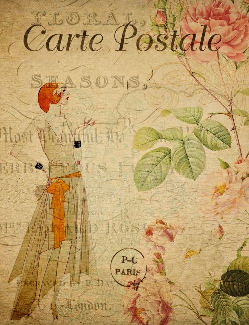 Woman Vintage Floral Postcard
