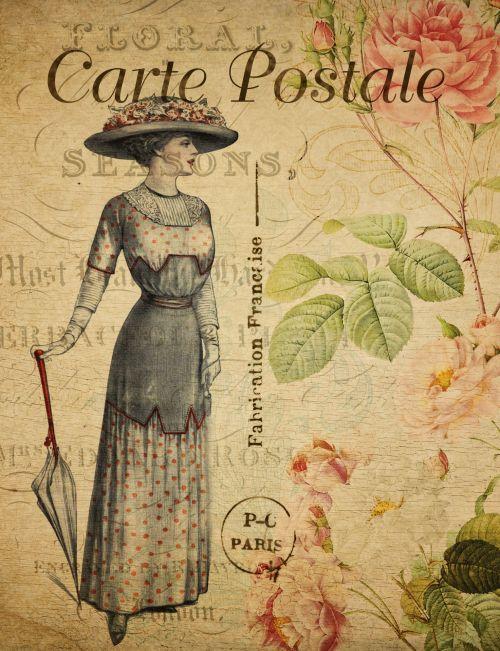 Woman Vintage Postcard Floral
