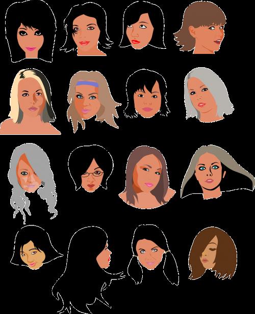 women girls faces