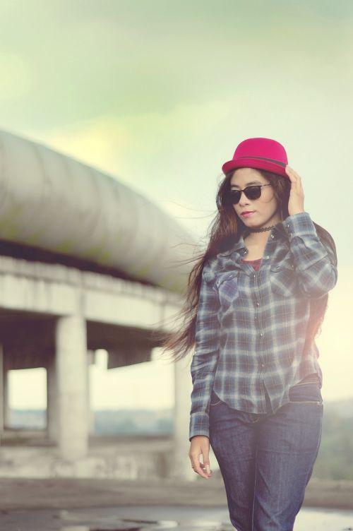 women cheerful model