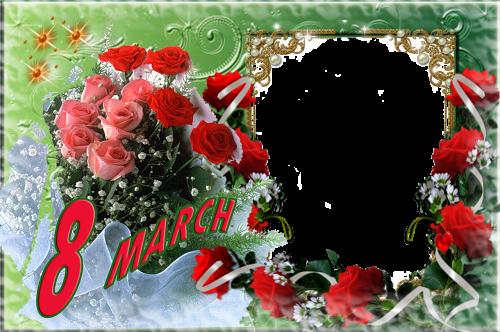 women's day march 8 postcard