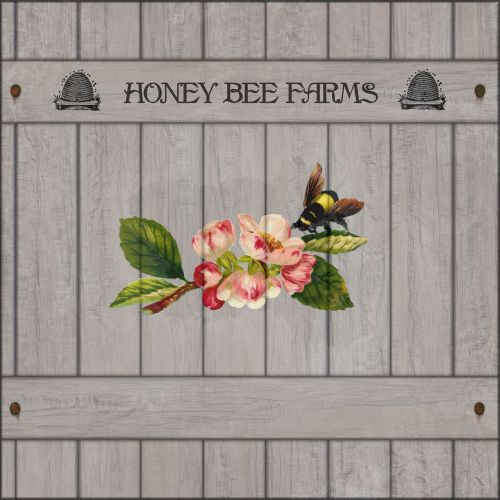wooden sign bee blossom