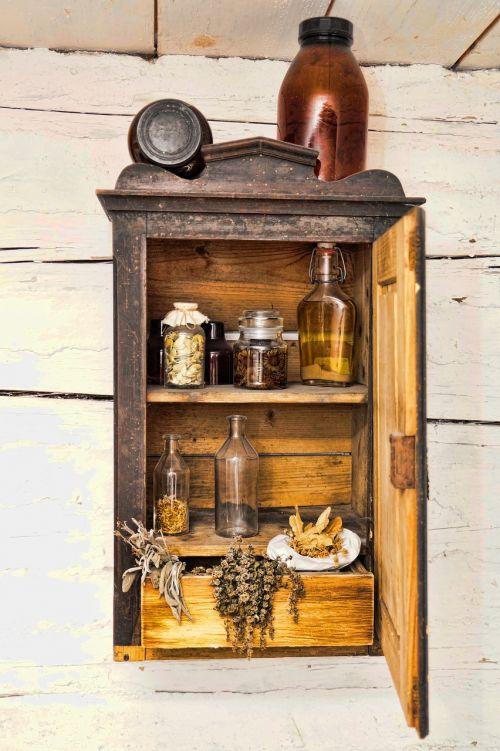 wood cupboard jars