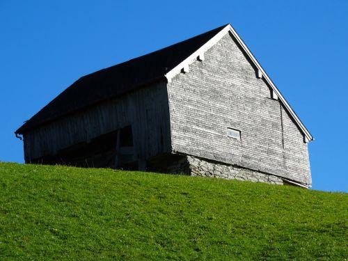 wood barn mountain barn green meadow