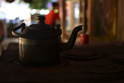 wood burning stove interior kettle