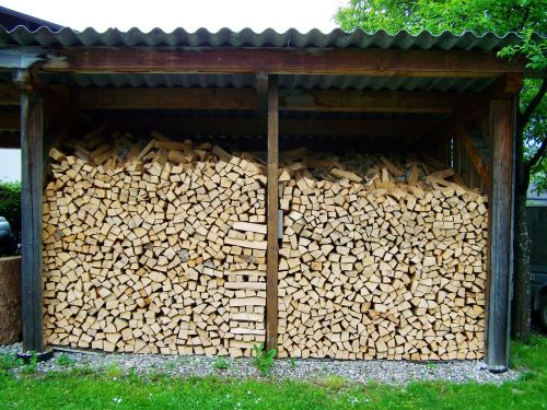 wood columns storage timber ripped firewood