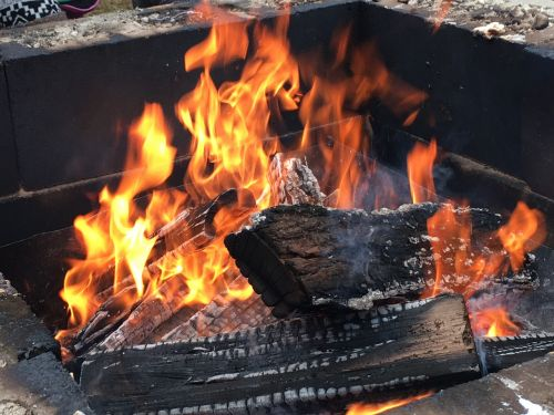 wood fire fire pit flame