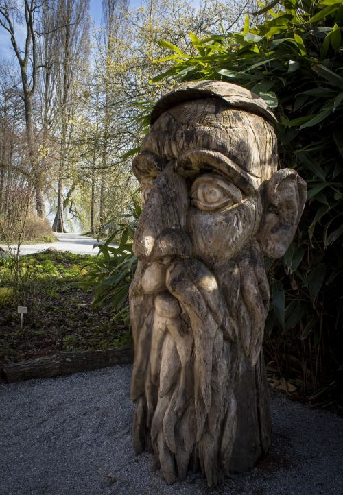 wood head carving sculpture