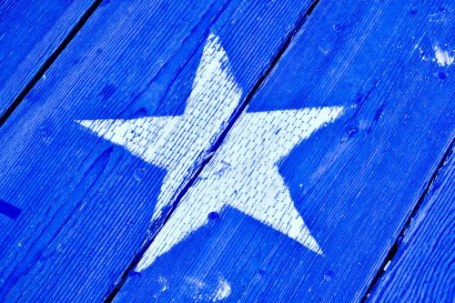 Wood Painted Star Blue