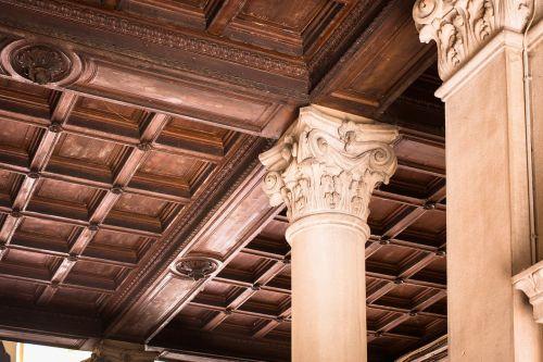 wooden ceiling wood paneling pillar