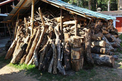 wood shed wood pile wood