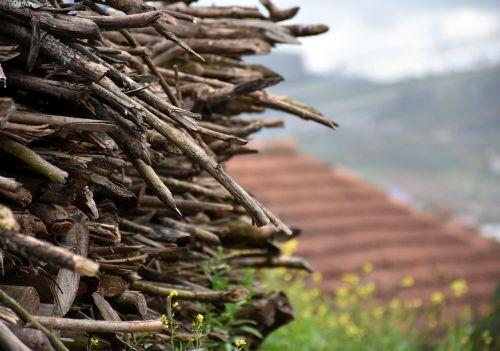 wood stack fire village