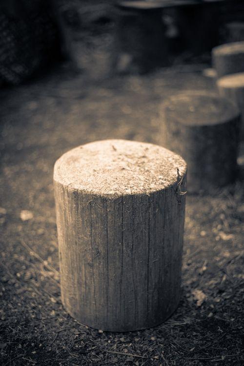 wood stump hack stock grayscale