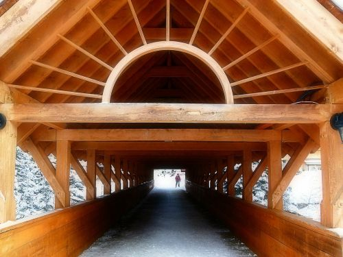 wooden covered bridge travel