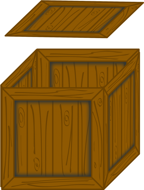 wooden box opened