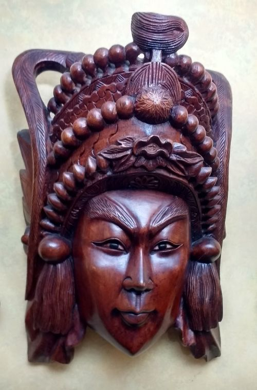 wooden asian mask chinese mask wood carving